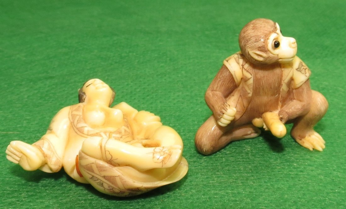 Erotic Ivory Netsuke,two separate pieces.