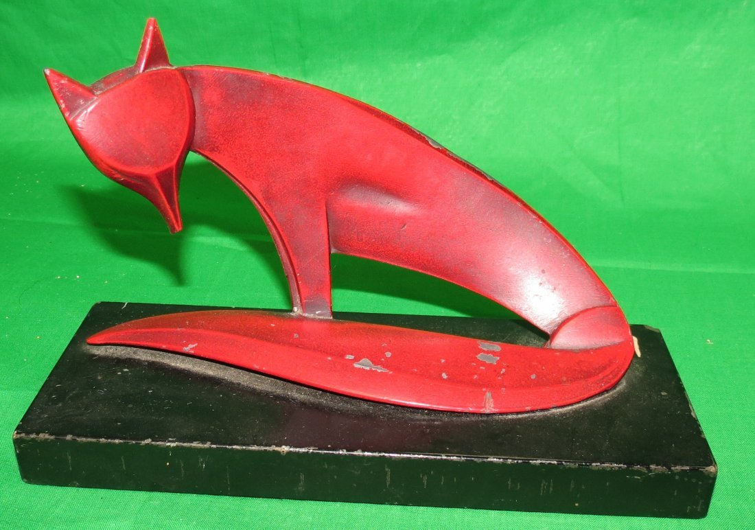 Art Deco Polychrome Metal Fox
