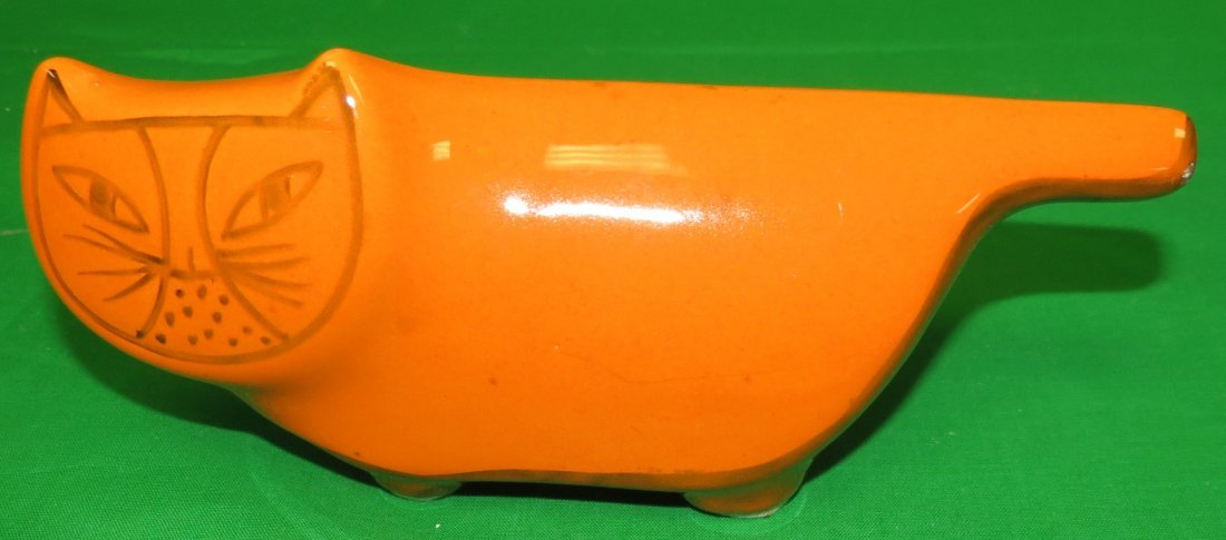 Art Deco Orange Porcelain Cat Bank