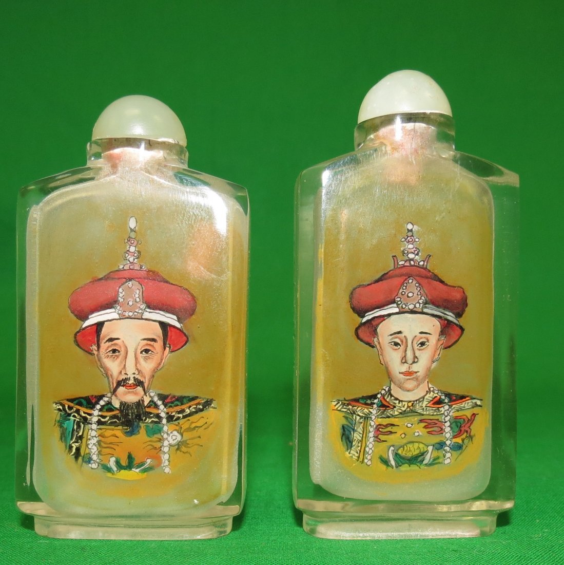 Pair of Glass Snuff Bottles King and Queen