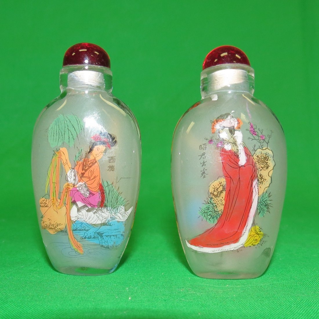 Pair of Glass Snuff Bottles Hand Painted