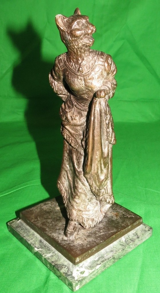 Bronze of Woman with Tiger Head by Sherman