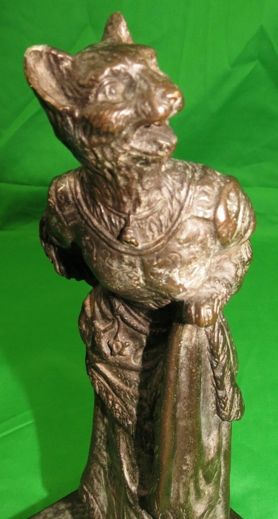 Bronze of Woman with Tiger Head by Sherman - 3