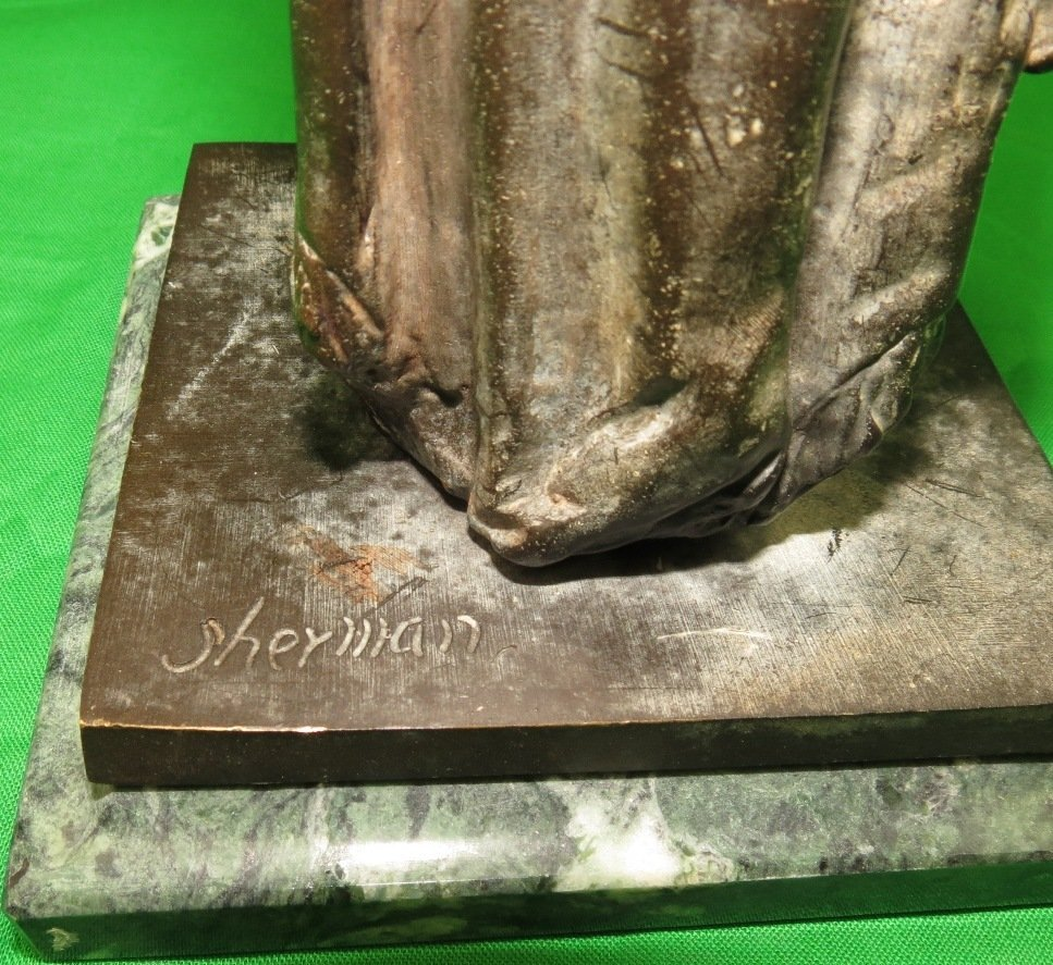 Bronze of Woman with Tiger Head by Sherman - 4