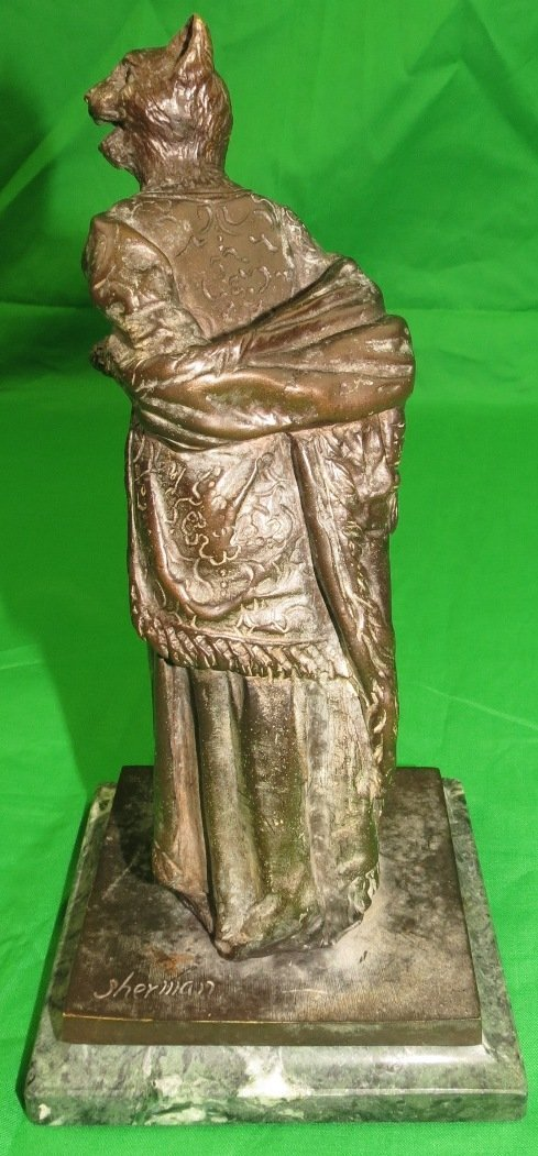 Bronze of Woman with Tiger Head by Sherman - 5