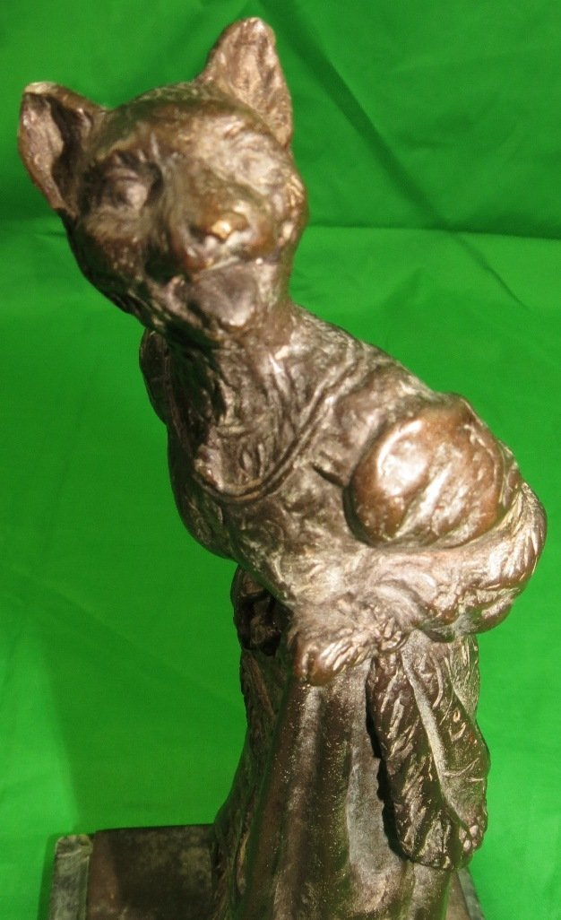Bronze of Woman with Tiger Head by Sherman - 7