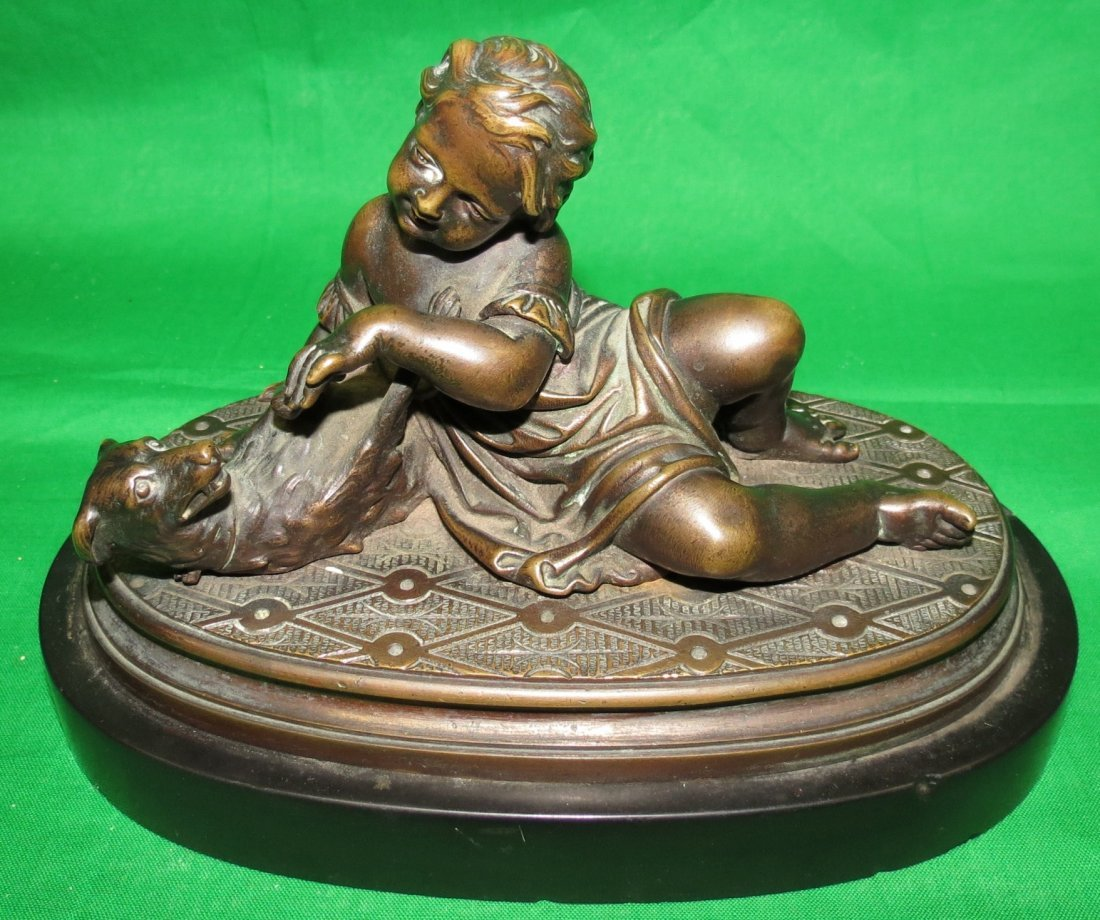 "Leblanc France Bronze Boy with Dog H: 4"" W: 7"""