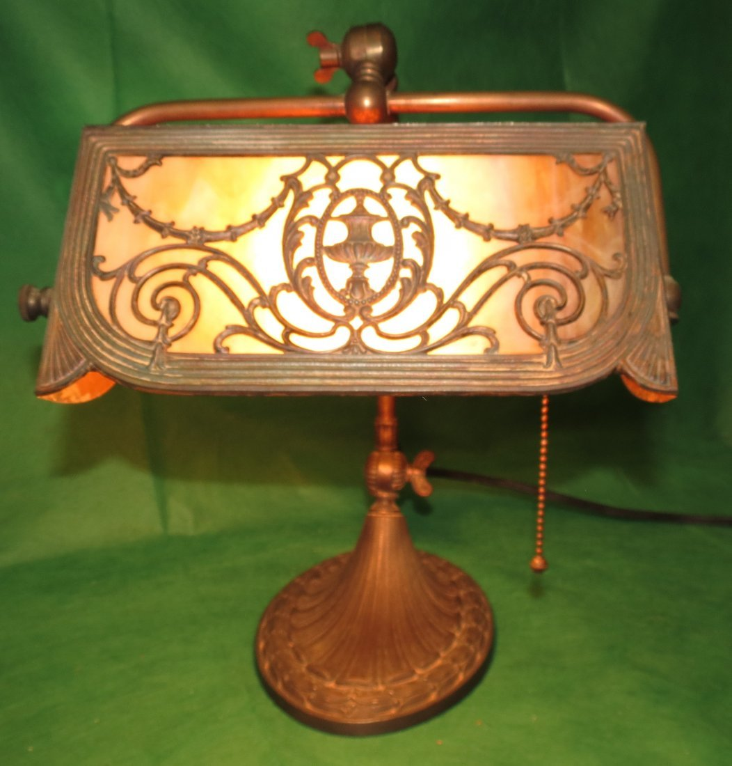 "Desk Slag Lamp 1920 H: 14""  W: 9""  d: 12"""