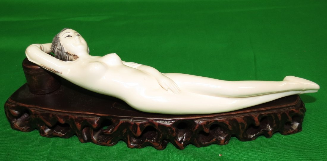 Ivory Sculpture Doctor's Lady Wood Base
