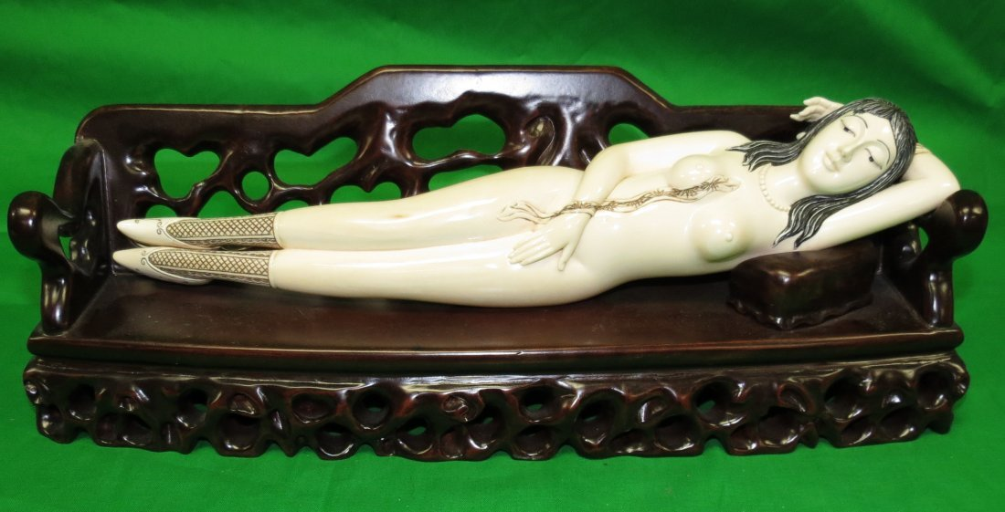 Big Doctor's Lady Ivory Sculpture Wood Bench