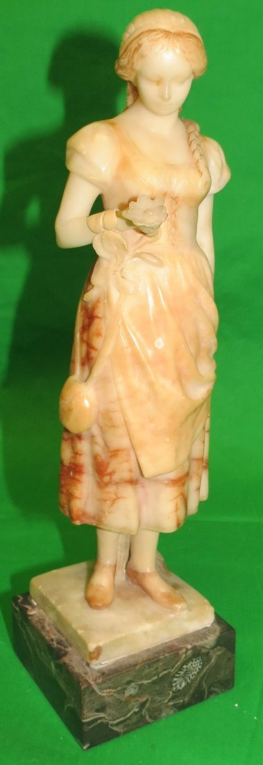 Alabaster Sculpture Lady with Flowers Signed HF