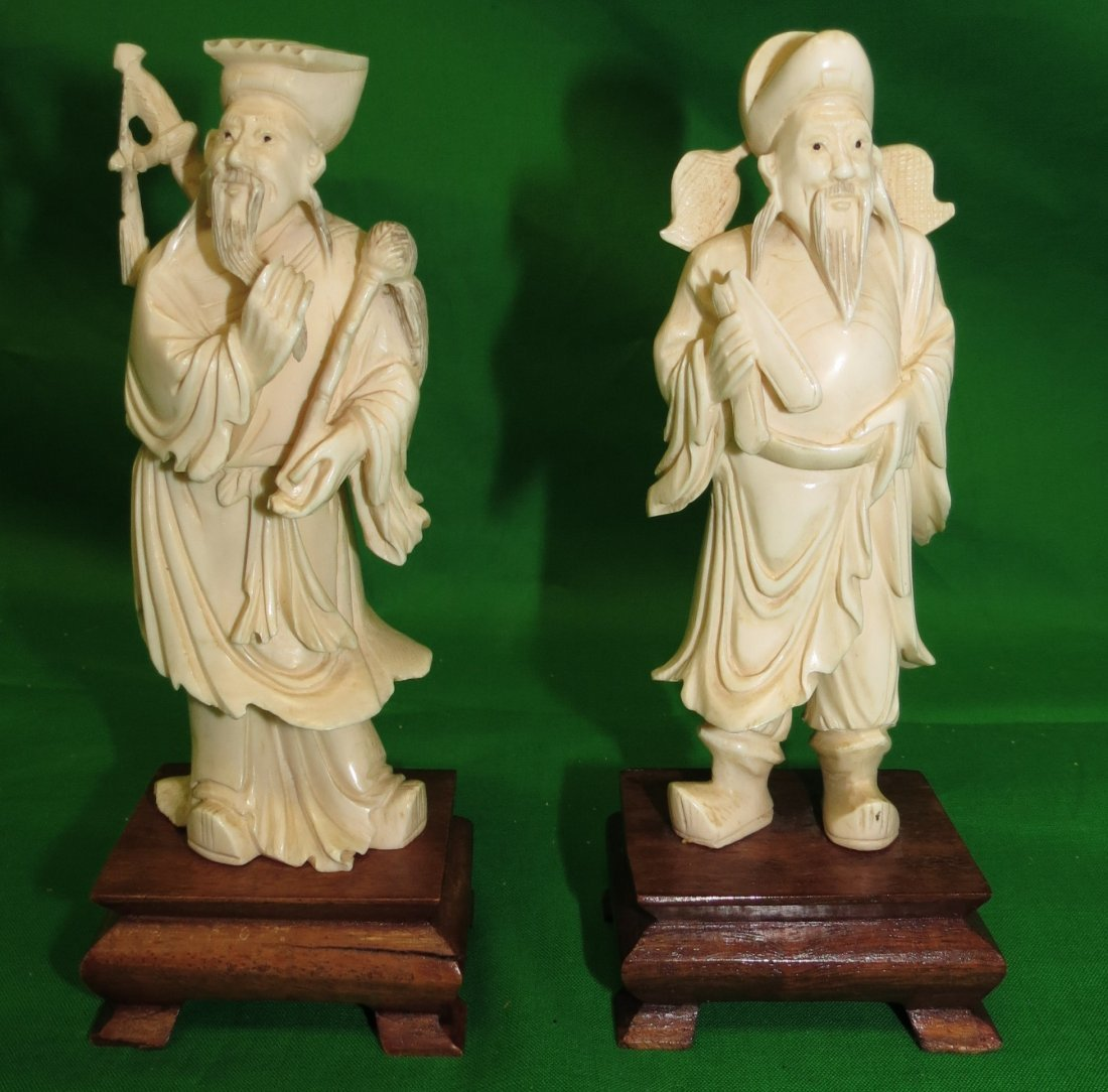 Pair Ivory Sculptures Guardians of the Temple