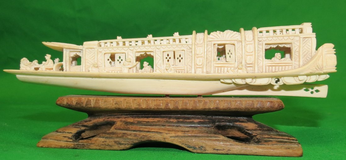 "Ivory Ship with Base H: 2"" Long: 6"""