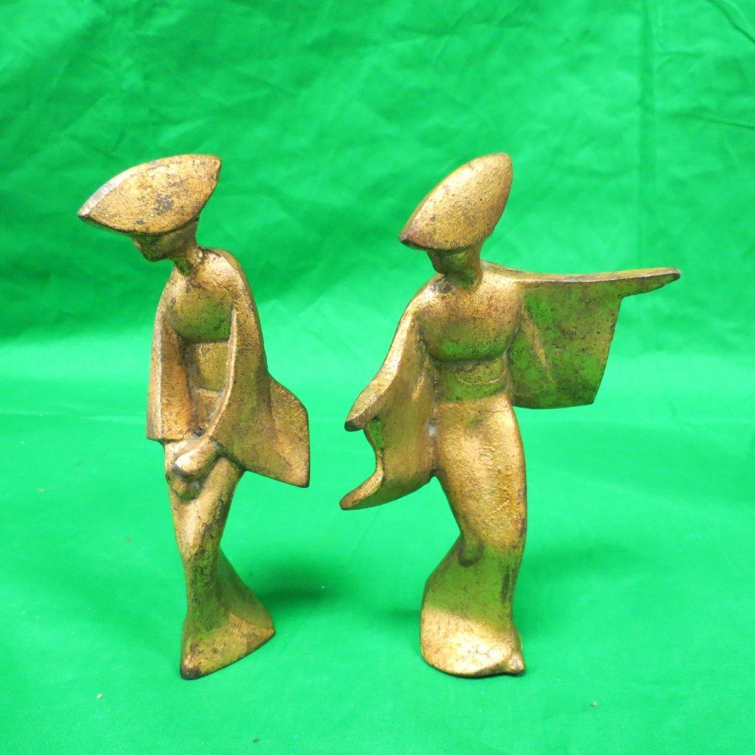 """Pair of Art Deco Bronze Figures (1930) H: 7"""""""