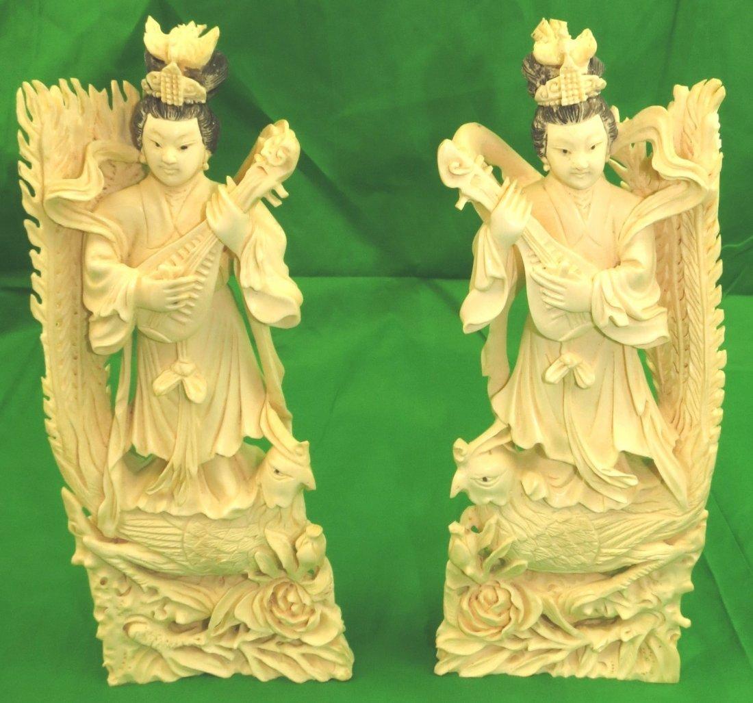 Pair of Ivory Ladies w/ Mandolins and Peacocks