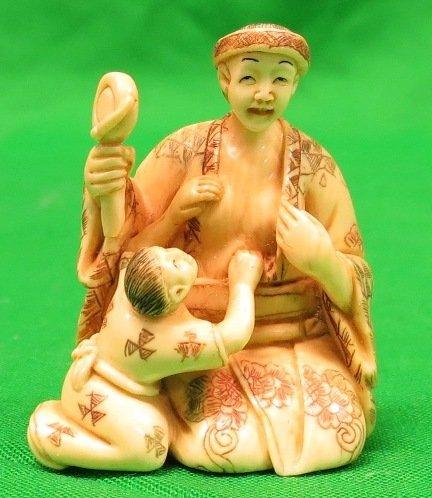 Old Ivory Netsuke Lady w/ Child, Signed.