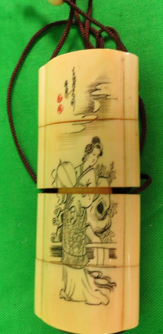 """Old Ivory pendand Box 3"""" Japanese"""