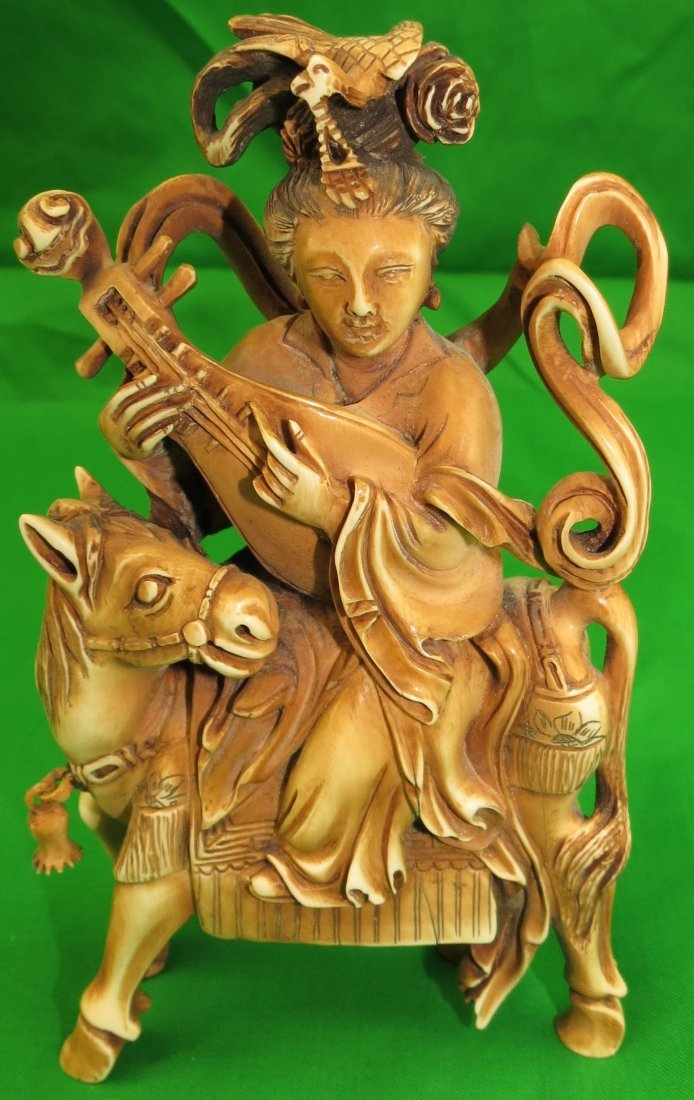 Old Ivory Sculpture Lady on Horse w/ Mandolin