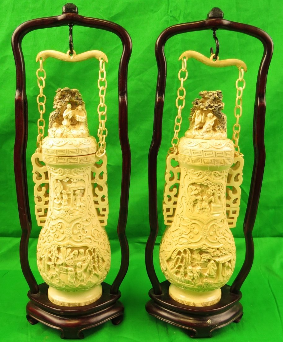 Spectacular Pair Ivory of Vases w/Wood Frames