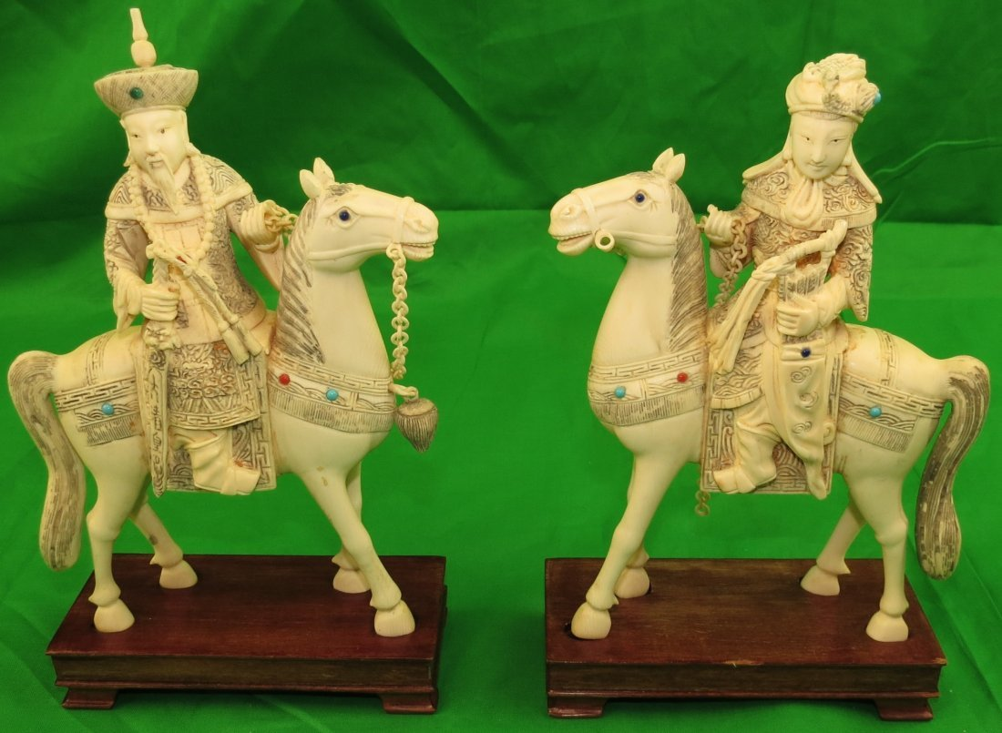 Okimono Ivory Emperor & Empress on Horses