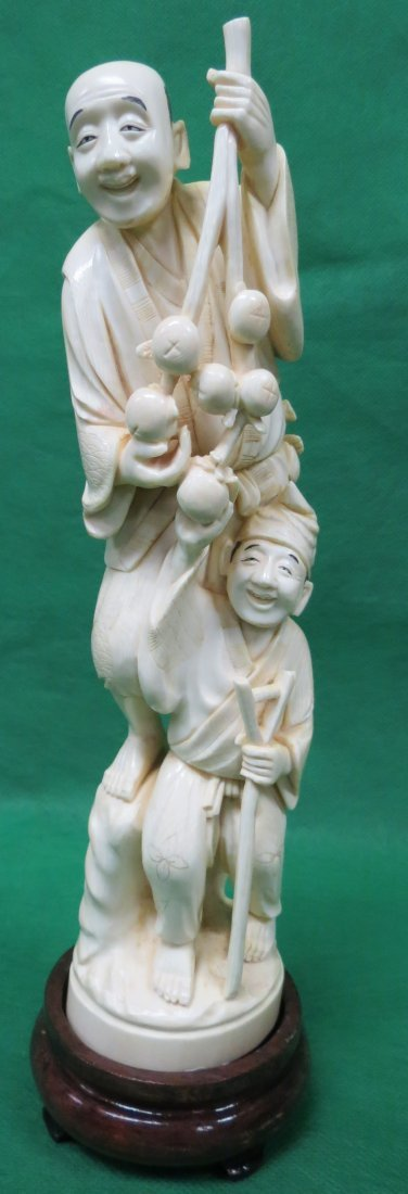 """Ivory sculpture Two Chinese Men Signed H: 10"""""""