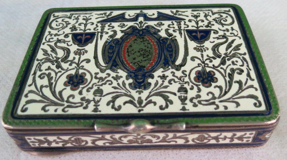"""Silver & Enamel Box (1890) European 2.5"""" X 3"""""""