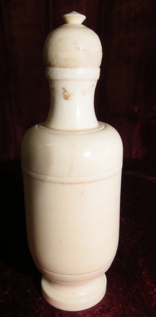 """Ivory Snuff Bottle Excellent Carving H: 3"""" (1900)"""