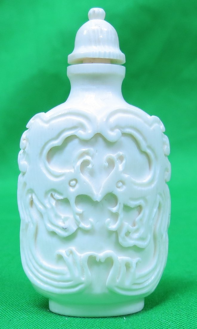 """Ivory Snuff Bottle Excellent Carving H: 2.5"""" (1900)"""