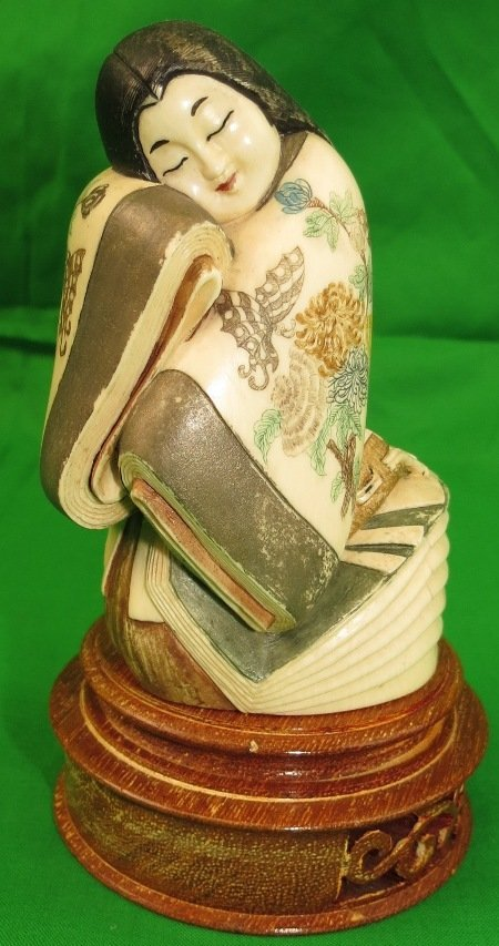 """Ivory Sculpture of Lady Polychrome H: 4"""" Dia: 2.5"""""""
