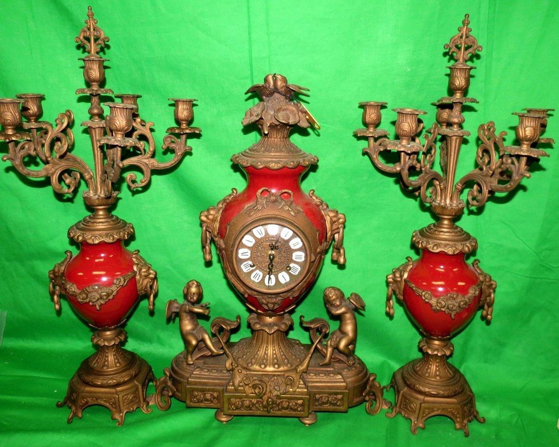 Clock Set w/ Candelabras Garniture Enamel.italy