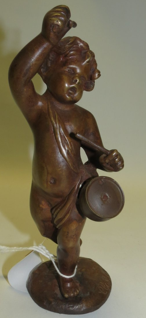 Clodion Sculpture, Boy w/Drum on marble base