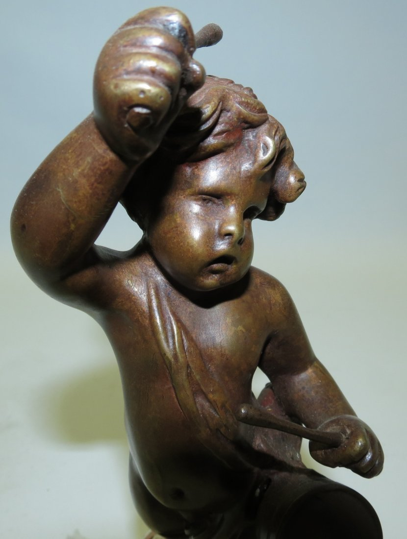 Clodion Sculpture, Boy w/Drum on marble base - 2