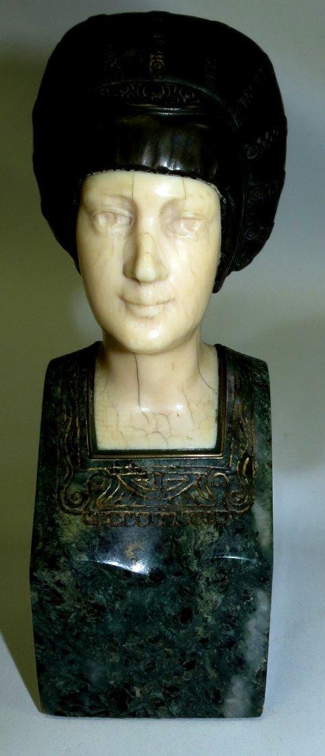 A. Endstorfer, Art Deco Ivory Bronze Marble Bust