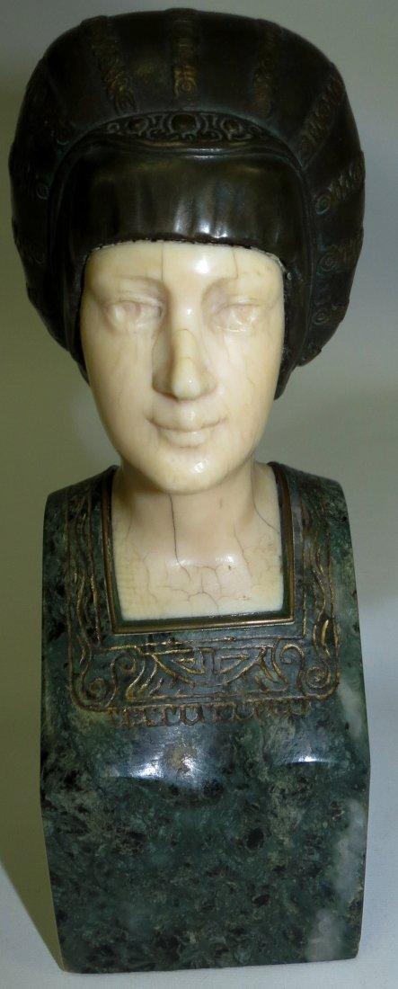 A. Endstorfer, Art Deco Ivory Bronze Marble Bust - 2