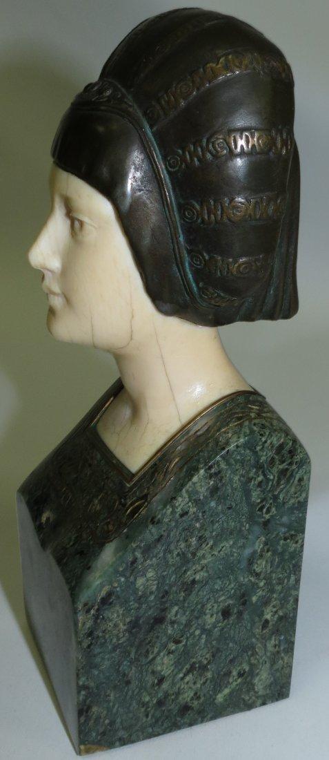 A. Endstorfer, Art Deco Ivory Bronze Marble Bust - 3