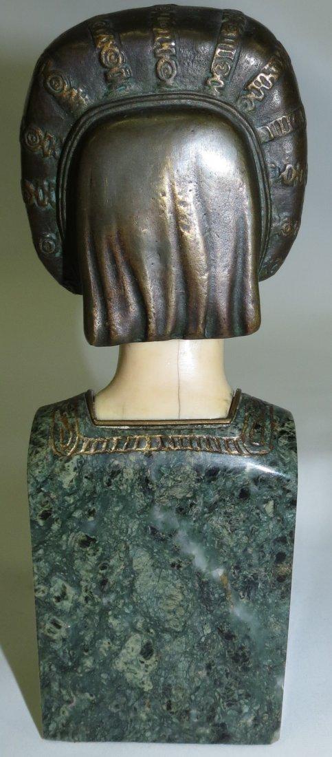 A. Endstorfer, Art Deco Ivory Bronze Marble Bust - 4