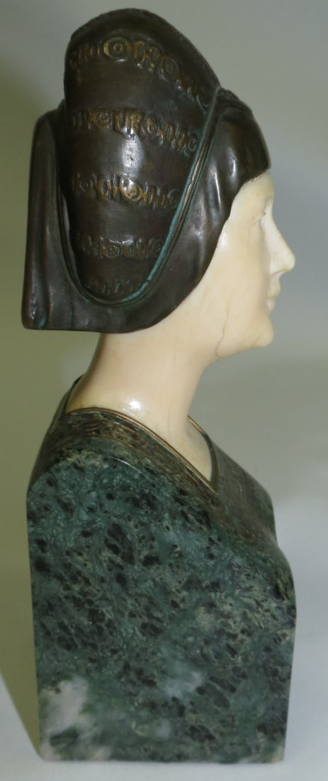 A. Endstorfer, Art Deco Ivory Bronze Marble Bust - 5