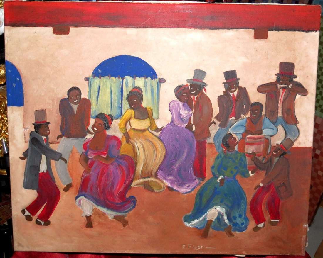 "Pedro Figari Oil on Canvas ""Candombe"""