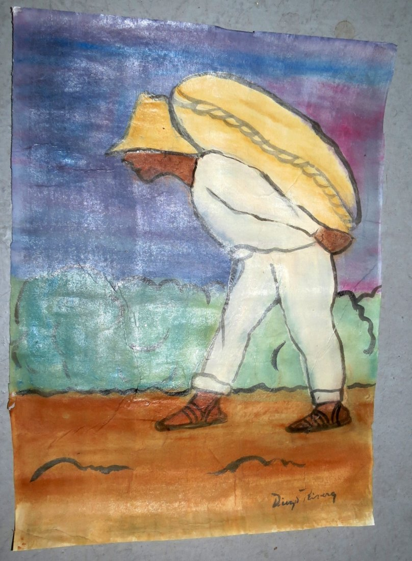 Diego Rivera Gouache over paper, rough draft .