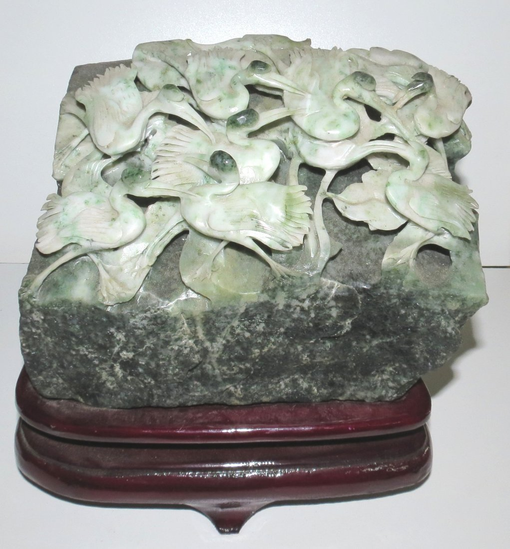 Jade Sculpture of Birds on Rock