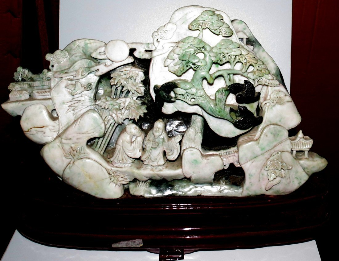 Jade Sculpture of Wise Men in Forest