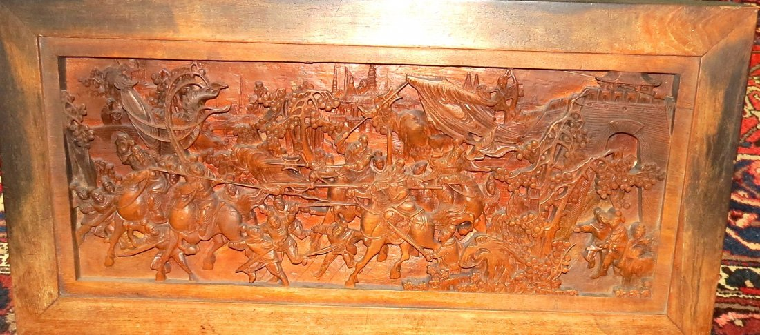 Chinese Panel Carved on Wood, Wall hanging