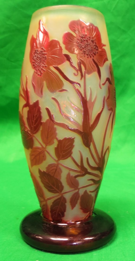 "Galle Vase (Original) Cameo Glass H: 6.2"" France"