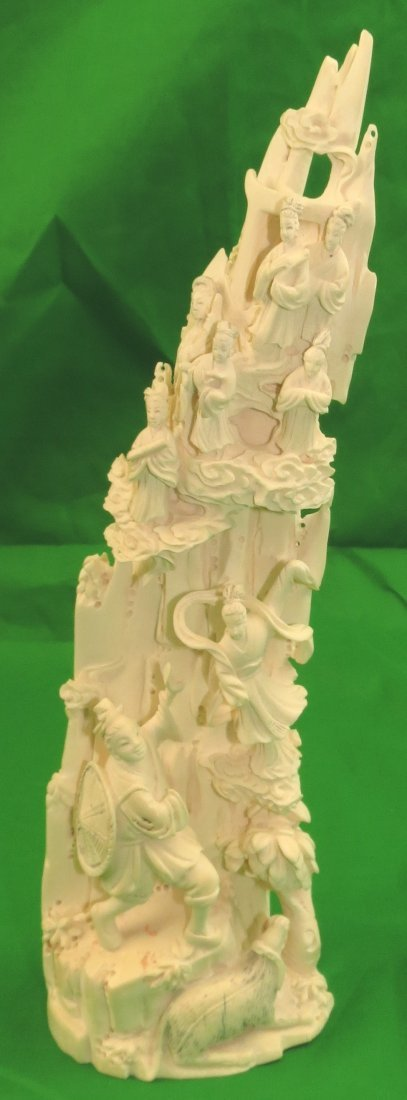 """Ivory Sculpture of Mountain Scene, Signed H: 10"""""""