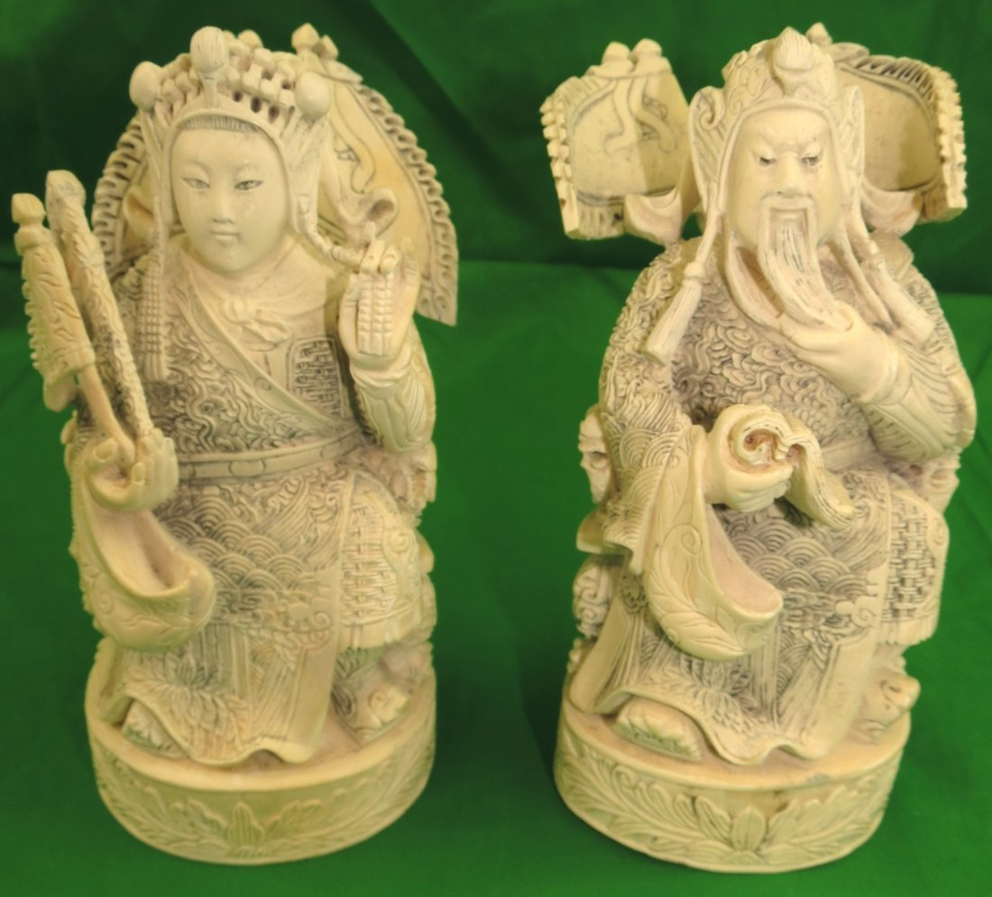 """Pair of Ivory Emperor and Empress - Signed H: 6.5"""""""