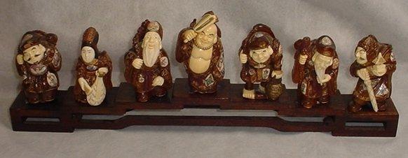 "Ivory & Boxwood Set of 7 Inmortals H: 5"" Each"