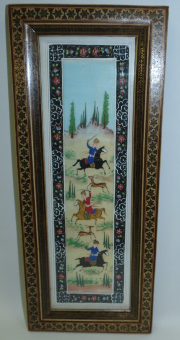 """Persian Ivory Plaque Hand Painted 10"""" x 3"""""""