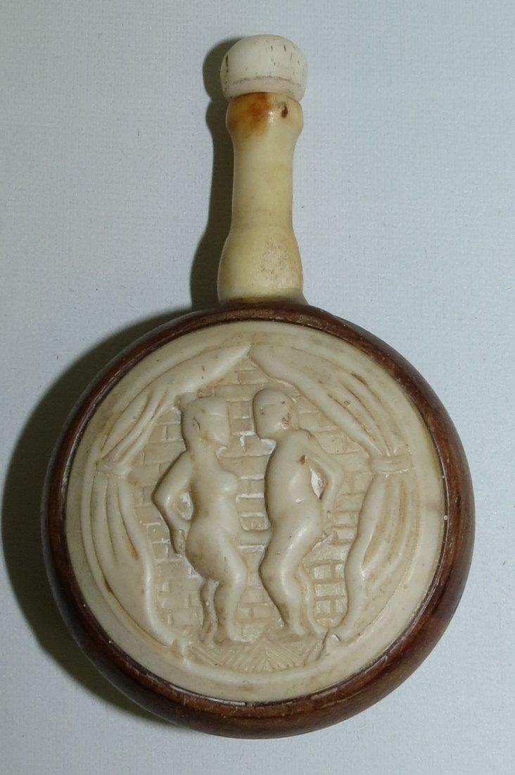 "Bone Snuff Bottle H: 3"" Nice Carving"