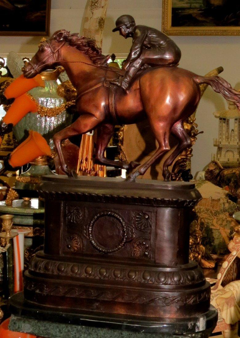Bronze Horse and Jockey on Bronze Base