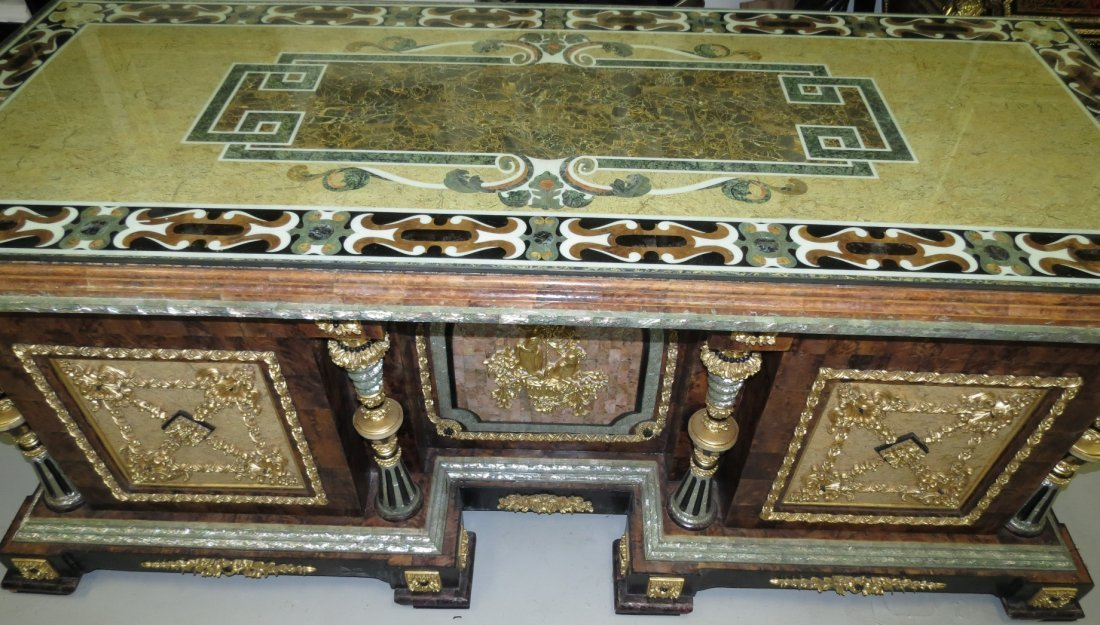 Mother of Pearl and Marble Desk Dore Pillars